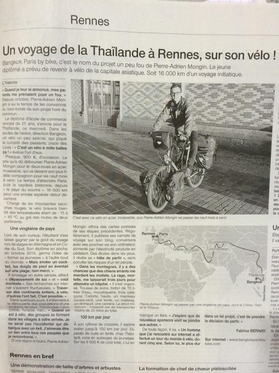 Bangkok Rennes à vélo dans Ouest France