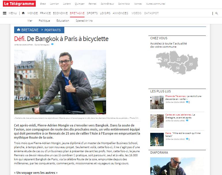 article-telegramme bangkok rennes à vélo